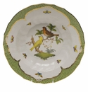 "Herend Rothschild Bird Green Border Rim Soup - Motif 06 9.5""D"