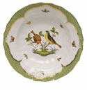 "Herend Rothschild Bird Green Border Rim Soup - Motif 07 9.5""D"