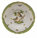 "Herend Rothschild Bird Green Border Rim Soup - Motif 08 9.5""D"