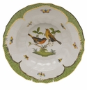 "Herend Rothschild Bird Green Border Rim Soup - Motif 09 9.5""D"