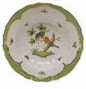 "Herend Rothschild Bird Green Border Rim Soup - Motif 10 9.5""D"