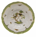 "Herend Rothschild Bird Green Border Rim Soup - Motif 11 9.5""D"