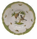 "Herend Rothschild Bird Green Border Rim Soup - Motif 12 9.5""D"