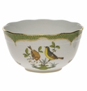 "Herend Rothschild Bird Green Border Round Bowl  (3.5 Pt) 7.5""D"