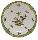 Herend Rothschild Bird Green Border Salad Plate - Motif 05 7.5""
