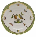 Herend Rothschild Bird Green Border Salad Plate - Motif 07 7.5""