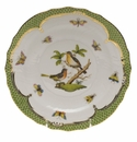 Herend Rothschild Bird Green Border Salad Plate - Motif 08 7.5""