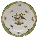 Herend Rothschild Bird Green Border Salad Plate - Motif 09 7.5""
