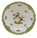 Herend Rothschild Bird Green Border Salad Plate - Motif 10 7.5""