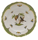 Herend Rothschild Bird Green Border Salad Plate - Motif 12 7.5""