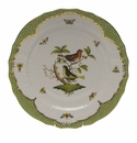 "Herend Rothschild Bird Green Border Service Plate - Motif 03 11""D"