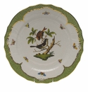 "Herend Rothschild Bird Green Border Service Plate - Motif 04 11""D"