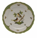 "Herend Rothschild Bird Green Border Service Plate - Motif 08 11""D"