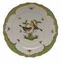 "Herend Rothschild Bird Green Border Service Plate - Motif 09 11""D"