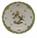 "Herend Rothschild Bird Green Border Service Plate - Motif 10 11""D"