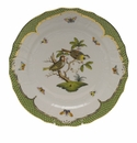 "Herend Rothschild Bird Green Border Service Plate - Motif 11 11""D"
