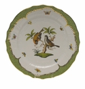 "Herend Rothschild Bird Green Border Service Plate - Motif 12 11""D"