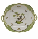 Herend Rothschild Bird Green Border Square Cake Plate With Handles