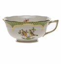 Herend Rothschild Bird Green Border Tea Cup - Motif 07 (8 Oz)