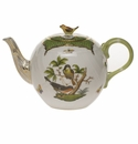 "Herend Rothschild Bird Green Border Tea Pot With Bird (36 Oz) 5.5""H"