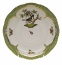 "Herend Rothschild Bird Green Border Tea Saucer - Motif 02 6""D"