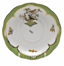 "Herend Rothschild Bird Green Border Tea Saucer - Motif 03 6""D"