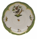 "Herend Rothschild Bird Green Border Tea Saucer - Motif 04 6""D"