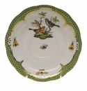 "Herend Rothschild Bird Green Border Tea Saucer - Motif 05 6""D"