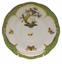 "Herend Rothschild Bird Green Border Tea Saucer - Motif 06 6""D"
