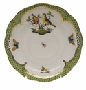 "Herend Rothschild Bird Green Border Tea Saucer - Motif 07 6""D"