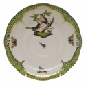 "Herend Rothschild Bird Green Border Tea Saucer - Motif 09 6""D"