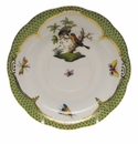 "Herend Rothschild Bird Green Border Tea Saucer - Motif 10 6""D"