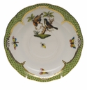 "Herend Rothschild Bird Green Border Tea Saucer - Motif 12 6""D"