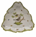 "Herend Rothschild Bird Green Border Triangle Dish 9.5""L"