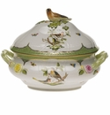 "Herend Rothschild Bird Green Border Tureen With Bird  (4 Qt) 10""H"