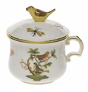 Herend Rothschild Bird Pot De Creme With Bird (3 Oz)