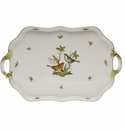 Herend Rothschild Bird Rectangular Tray With Branch Handles  18""