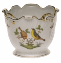 "Herend Rothschild Bird Ribbed Cachepot  6.25""H X 7""D"