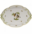 Herend Rothschild Bird Ribbon Tray With Green Ribbon 15.