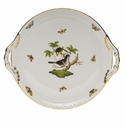 "Herend Rothschild Bird Round Tray With Handles  11.25""D"