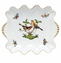 "Herend Rothschild Bird Small Dish With Pearls 5.75""L X 6"