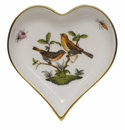 "Herend Rothschild Bird Small Heart Tray  4""L X 4""W"