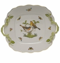 Herend Rothschild Bird Square Cake Plate With Handles  9