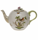 "Herend Rothschild Bird Tea Pot With Rose  (36 Oz) 5.5""H"