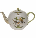 "Herend Rothschild Bird Tea Pot With Rose  (60 Oz) 6.5""H"