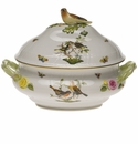 "Herend Rothschild Bird Tureen With Bird  (4 Qt) 10""H"