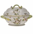 "Herend Rothschild Bird Tureen With Branch  (2 Qt) 9.5""H"