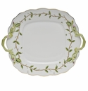 "Herend Rothschild Garden Square Cake Plate With Handles 9""."