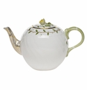 "Herend Rothschild Garden Tea Pot With Rose (36 Oz) 5.5""H"