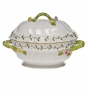 "Herend Rothschild Garden Tureen With Branch (2 Qt) 9.5""H"